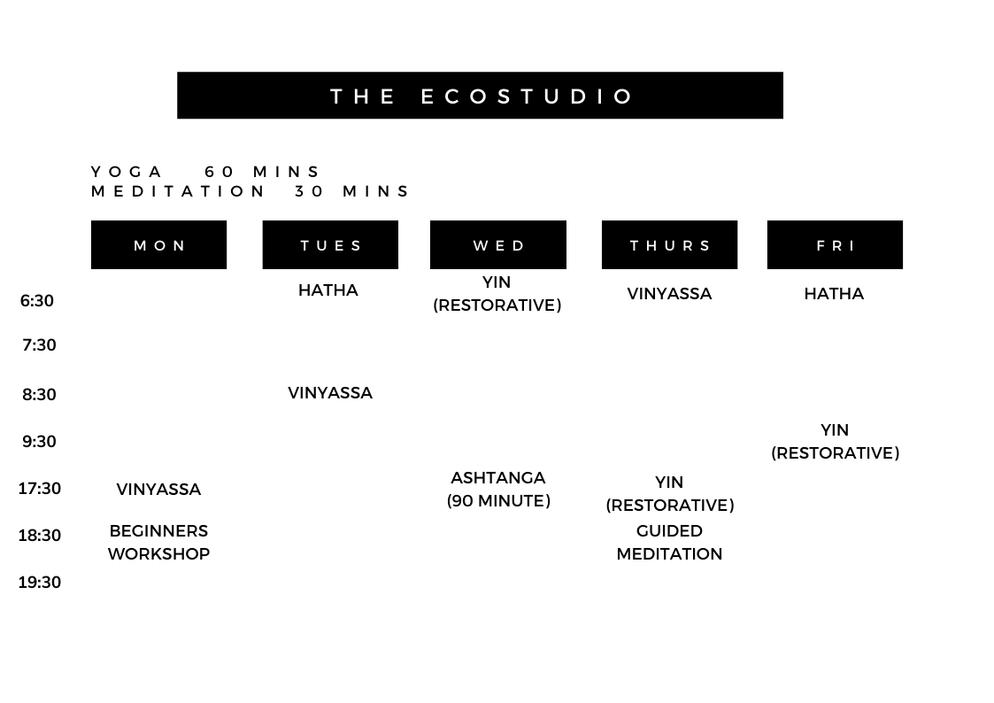 ecostudio by ecomaya yoga classes timetable